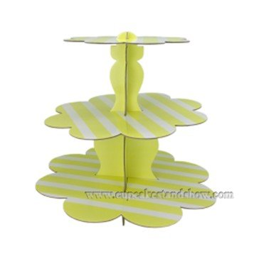 Yellow Stripe Cupcake Stand
