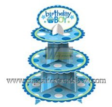 Happy Birthday Cardboard Cupcake Tree Stand for Boy's Party