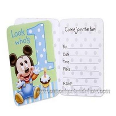 Mickey 1st Birthday Invitation Cardscardboard Cupcake Standcupcake