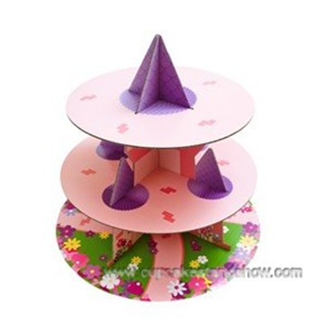 3 Tier Princess Castle Disposalbe Cupcake Stand