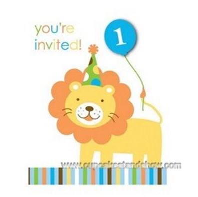 Sweet Safari Blue 1st Birthday Invitation Cards