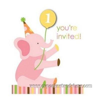 Sweet Safari Pink 1st Birthday Invitation Cards