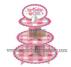 Happy Birthday Cardboard Cupcake Tree Stand for Girl's Party