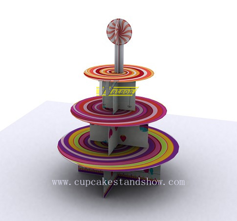 Original lollipop Design Cardboard Cupcake Stand for Party