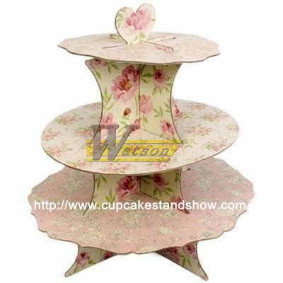 multi-layer rose cardboard cupcake display stand